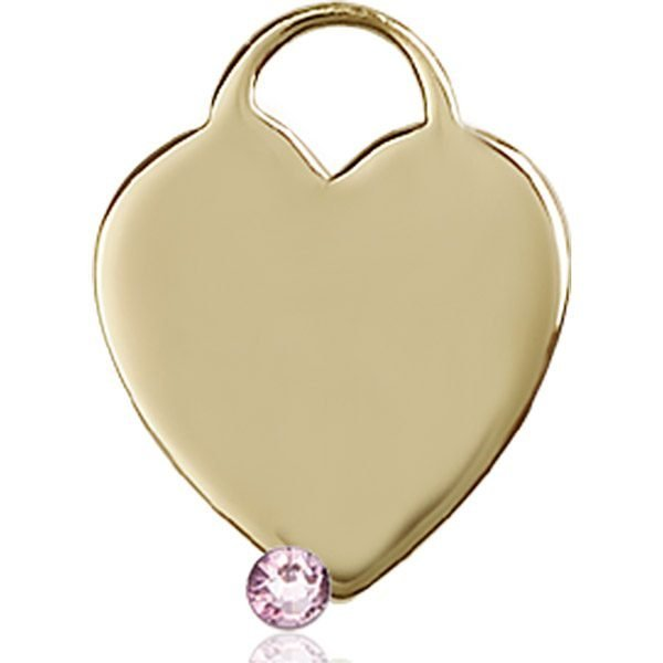 Heart Medal - June Birthstone - 14 KT Gold #88645