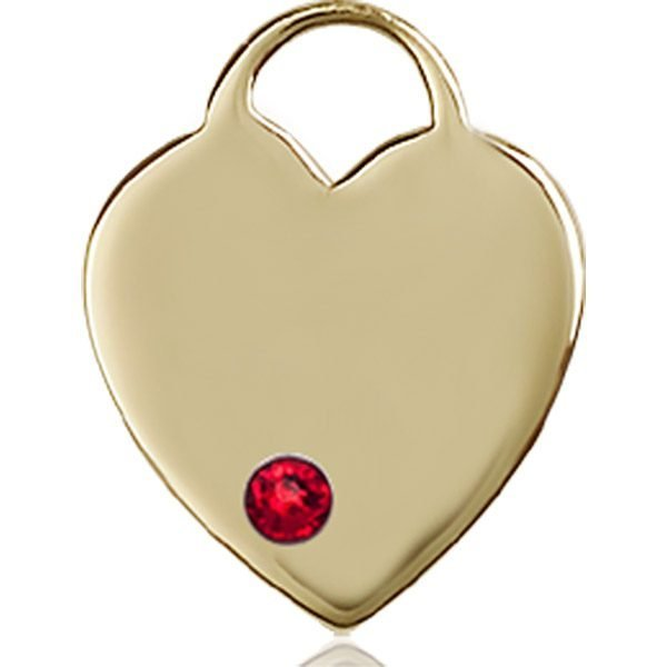Heart Medal - July Birthstone - 14 KT Gold #88646