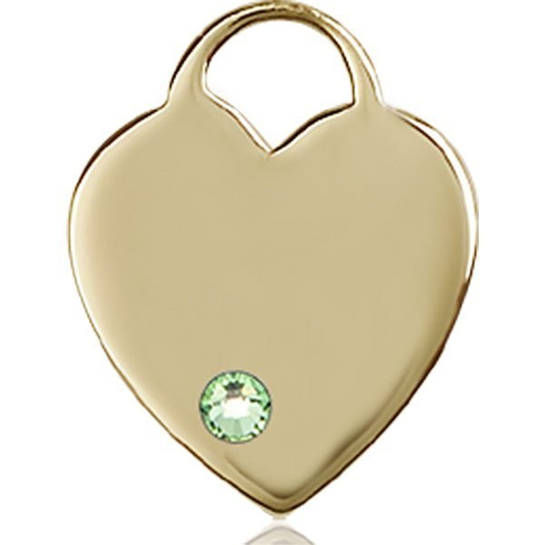 Heart Medal - August Birthstone - 14 KT Gold #88647