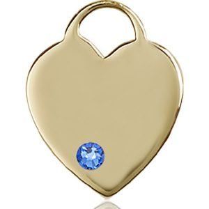 Heart Medal - September Birthstone - 14 KT Gold #88648