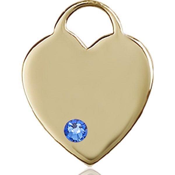 Heart Medal - September Birthstone - 14 KT Gold #88648