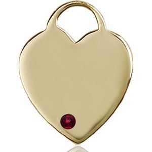 Heart Medal - January Birthstone - 14 KT Gold #88712