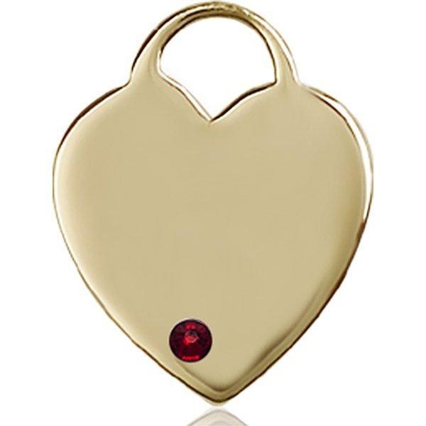 Heart Medal - January Birthstone - 14 KT Gold #88712