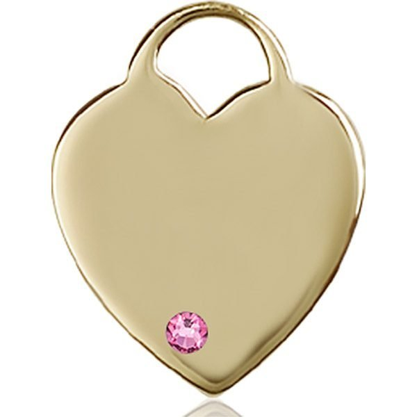Heart Medal - October Birthstone - 14 KT Gold #88713