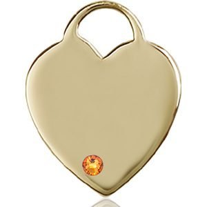 Heart Medal - November Birthstone - 14 KT Gold #88714