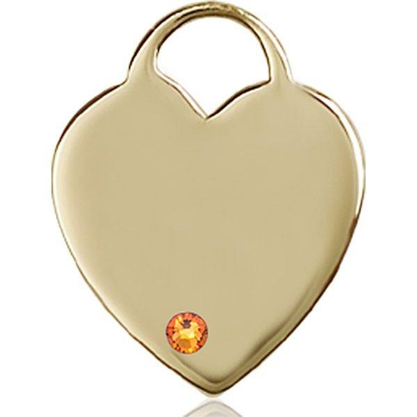 Heart Medal - November Birthstone - 14 KT Gold #88714