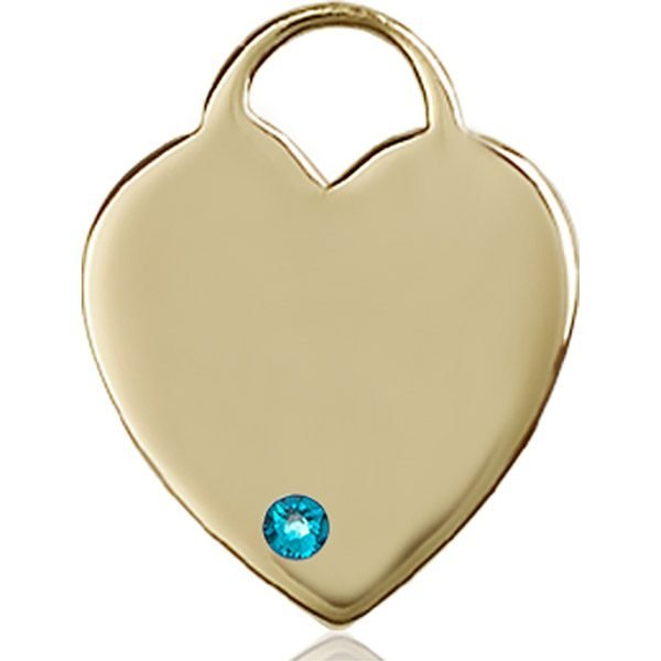 Heart Medal - December Birthstone - 14 KT Gold #88715