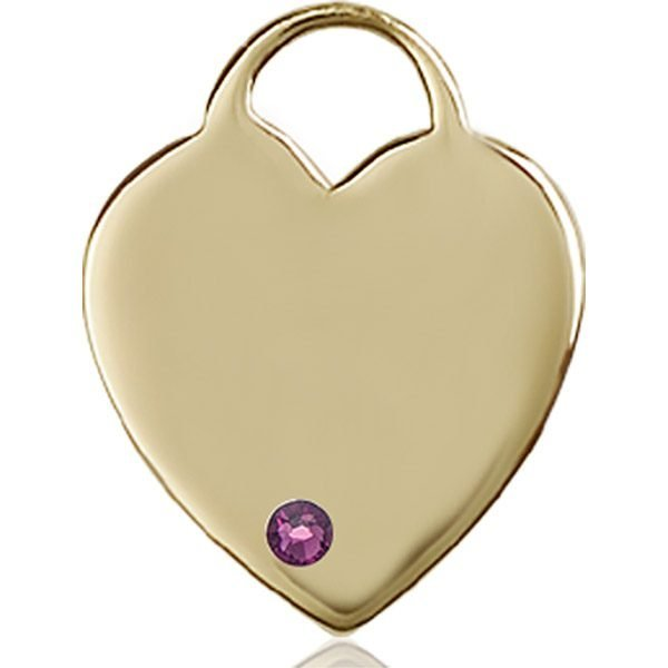 Heart Medal - February Birthstone - 14 KT Gold #88716