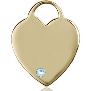 Heart Medal - March Birthstone - 14 KT Gold #88717