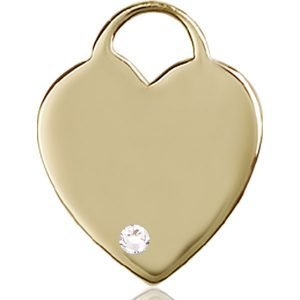Heart Medal - April Birthstone - 14 KT Gold #88718