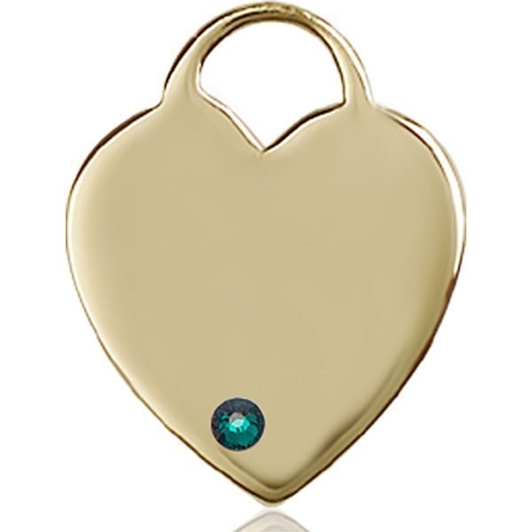 Heart Medal - May Birthstone - 14 KT Gold #88719