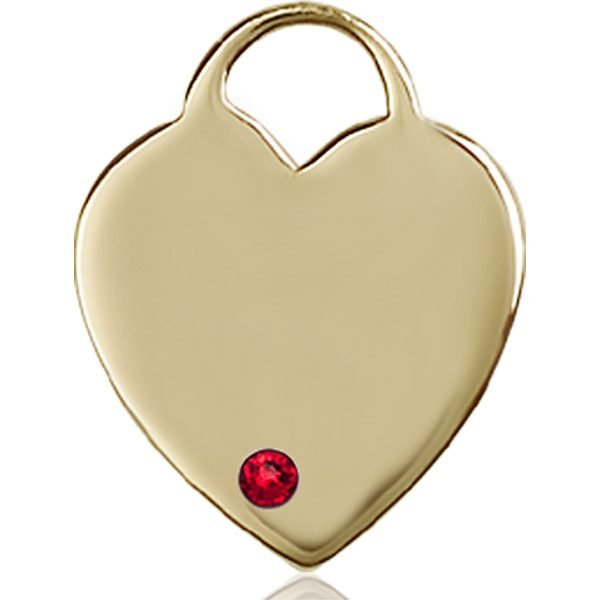 Heart Medal - July Birthstone - 14 KT Gold #88721