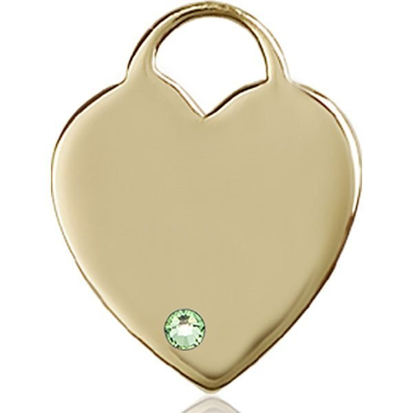 Heart Medal - August Birthstone - 14 KT Gold #88722