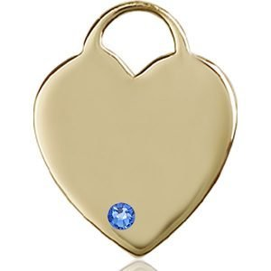 Heart Medal - September Birthstone - 14 KT Gold #88723