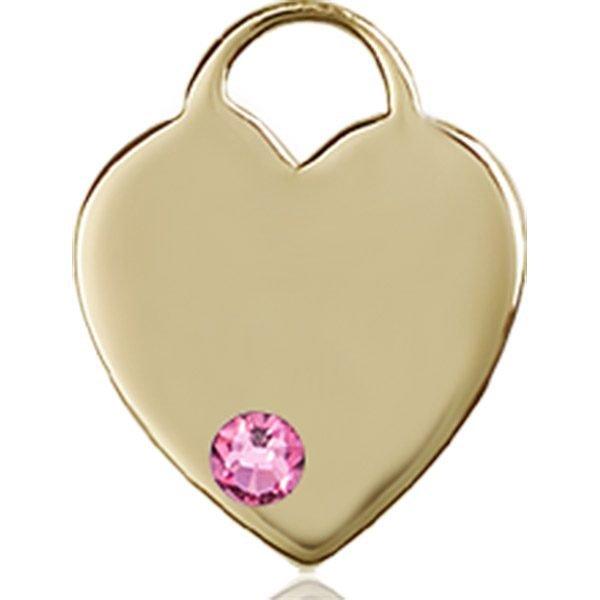 Heart Medal - October Birthstone - 14 KT Gold #88752