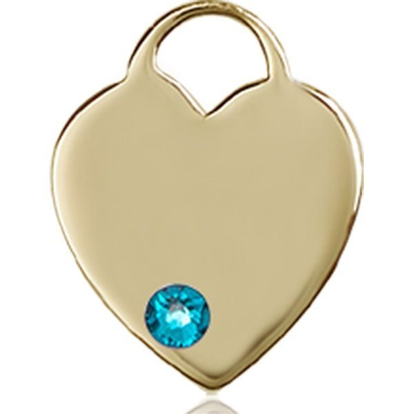 Heart Medal - December Birthstone - 14 KT Gold #88754