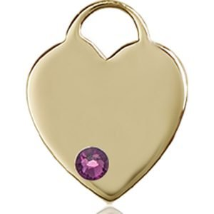 Heart Medal - February Birthstone - 14 KT Gold #88755