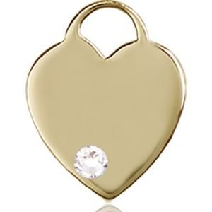 Heart Medal - April Birthstone - 14 KT Gold #88757