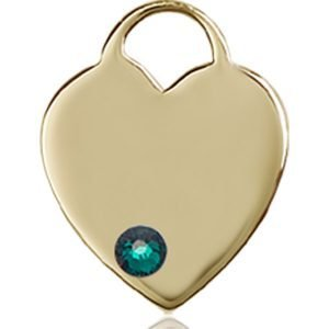 Heart Medal - May Birthstone - 14 KT Gold #88758