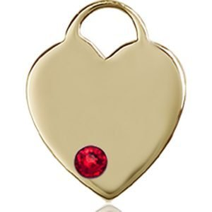 Heart Medal - July Birthstone - 14 KT Gold #88760