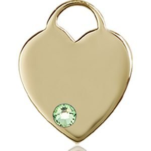 Heart Medal - August Birthstone - 14 KT Gold #88761