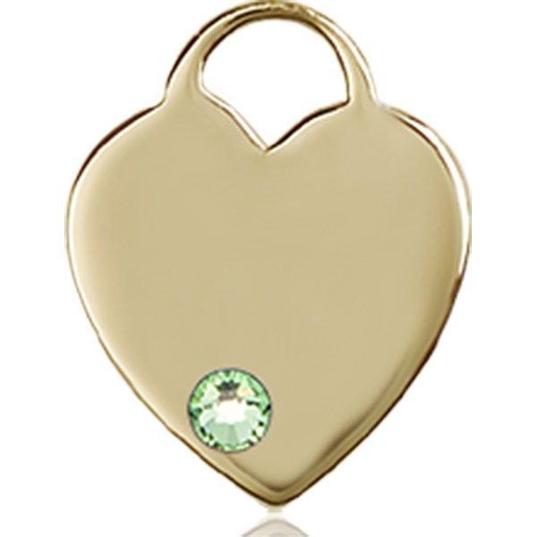 Heart Medal - August Birthstone - 14 KT Gold #88761