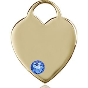 Heart Medal - September Birthstone - 14 KT Gold #88762