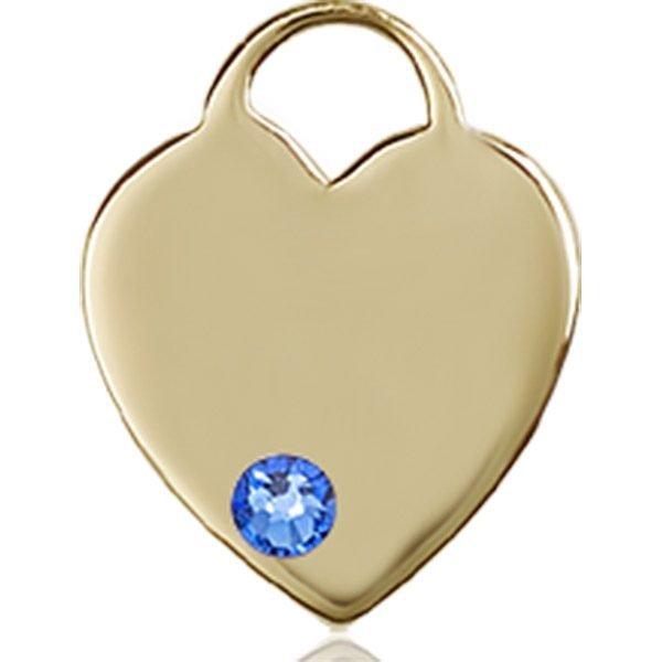 Heart Medal - September Birthstone - 14 KT Gold #88762