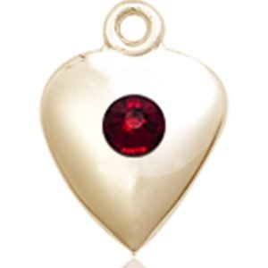 Heart Medal - January Birthstone - 14 KT Gold #88801