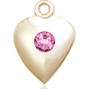 Heart Medal - October Birthstone - 14 KT Gold #88802