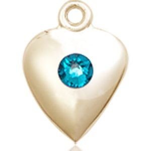 Heart Medal - December Birthstone - 14 KT Gold #88804