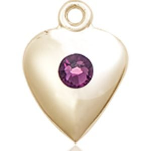 Heart Medal - February Birthstone - 14 KT Gold #88805
