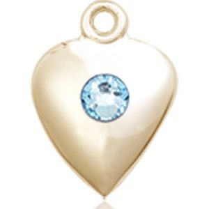 Heart Medal - March Birthstone - 14 KT Gold #88806