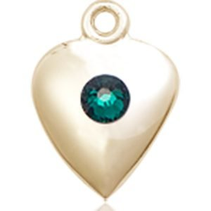 Heart Medal - May Birthstone - 14 KT Gold #88808