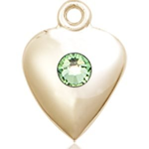 Heart Medal - August Birthstone - 14 KT Gold #88811