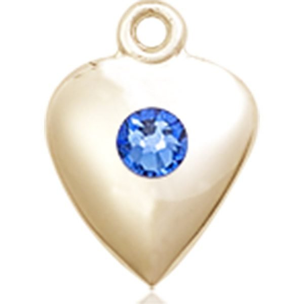 Heart Medal - September Birthstone - 14 KT Gold #88812