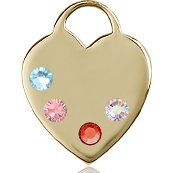 Heart Medal - Multi-Colored Birthstone - 14 KT Gold #88649