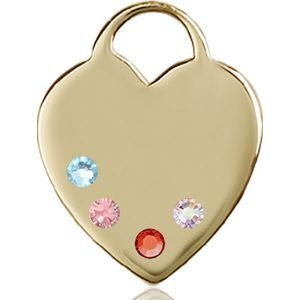 Heart Medal - Multi-Colored Birthstone - 14 KT Gold #88724
