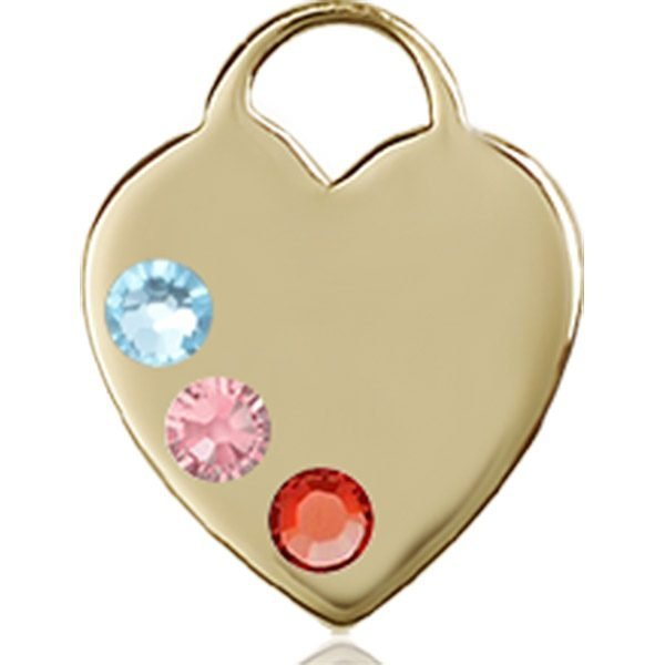 Heart Medal - Multi-Colored Birthstone - 14 KT Gold #88763