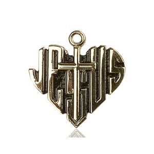 14kt Gold Heart of Jesus - Cross Medal #88029