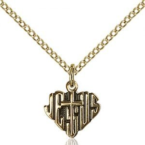 Gold Filled Heart of Jesus - Cross Necklace #88023
