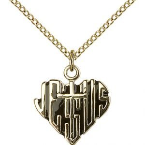 Gold Filled Heart of Jesus - Cross Necklace #88031