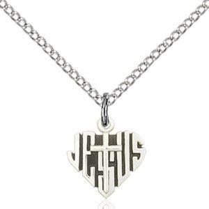 Sterling Silver Heart of Jesus - Cross Necklace #88026