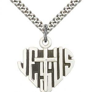 Sterling Silver Heart of Jesus - Cross Necklace #88030