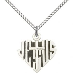 Sterling Silver Heart of Jesus - Cross Necklace #88034