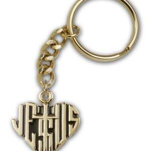 Gold Plate Heart of Jesus w/Cross Keychain
