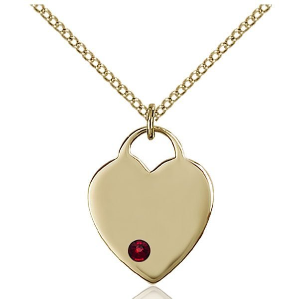 Heart Pendant - January Birthstone - Gold Filled #88624