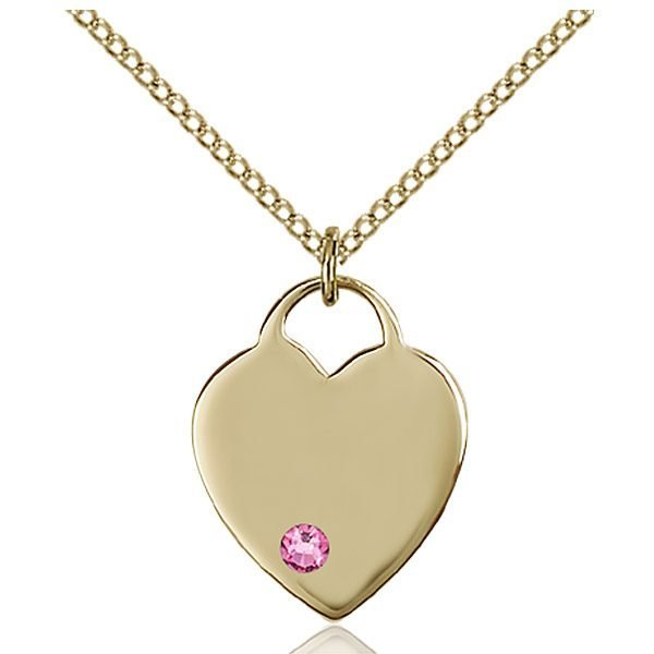 Heart Pendant - October Birthstone - Gold Filled #88625
