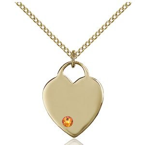 Heart Pendant - November Birthstone - Gold Filled #88626