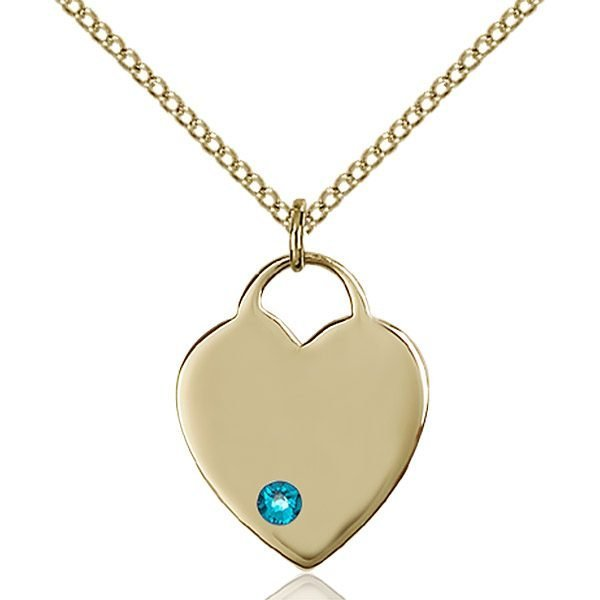 Heart Pendant - December Birthstone - Gold Filled #88627